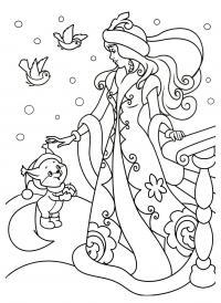 Снегурочка гладит бельчонка Раскраски зима скачать бесплатно