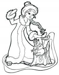 Снегурочка гладит зайчика Раскраски зима скачать бесплатно