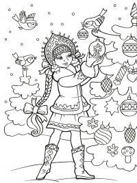 Снегурочка с птичками наряжает елку Раскраски зима скачать бесплатно