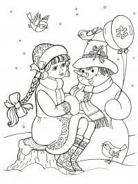Снегурочка со снеговиком Раскраски зима скачать бесплатно