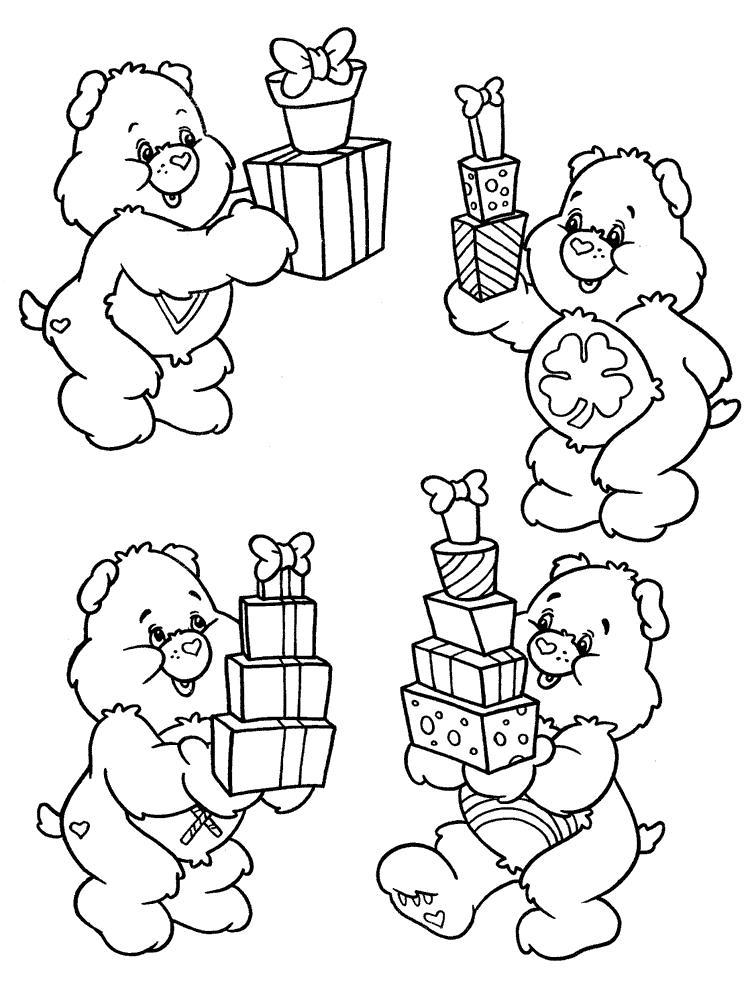 Мишки с подарками Детские раскраски зима распечатать