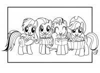 Пони дарят подарки Детские раскраски зима распечатать