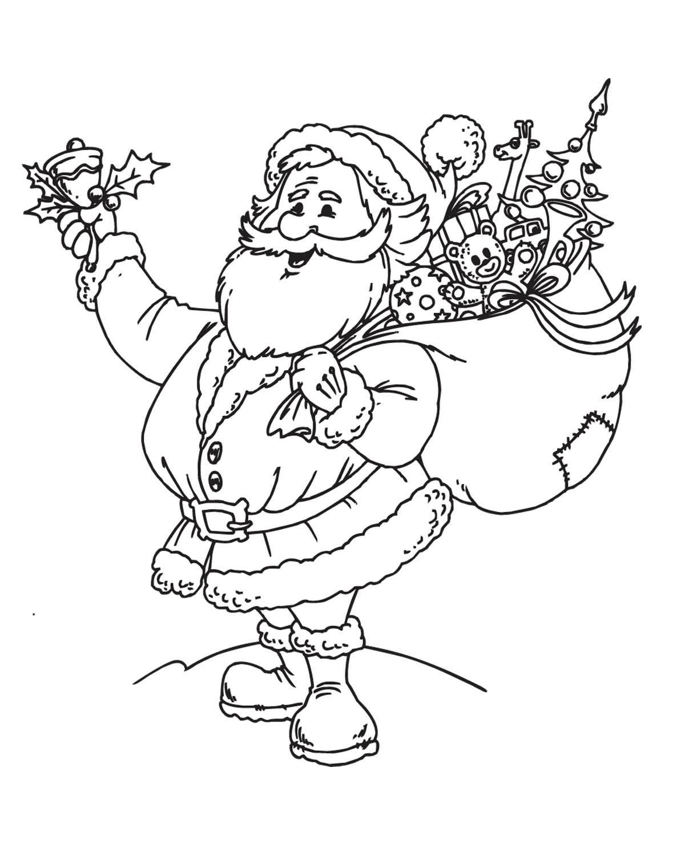 Дед мороз с подарками звенит в колокольчик Детские раскраски зима распечатать