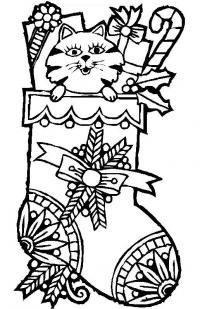 Подарки к новому году в носочке Детские раскраски зима распечатать