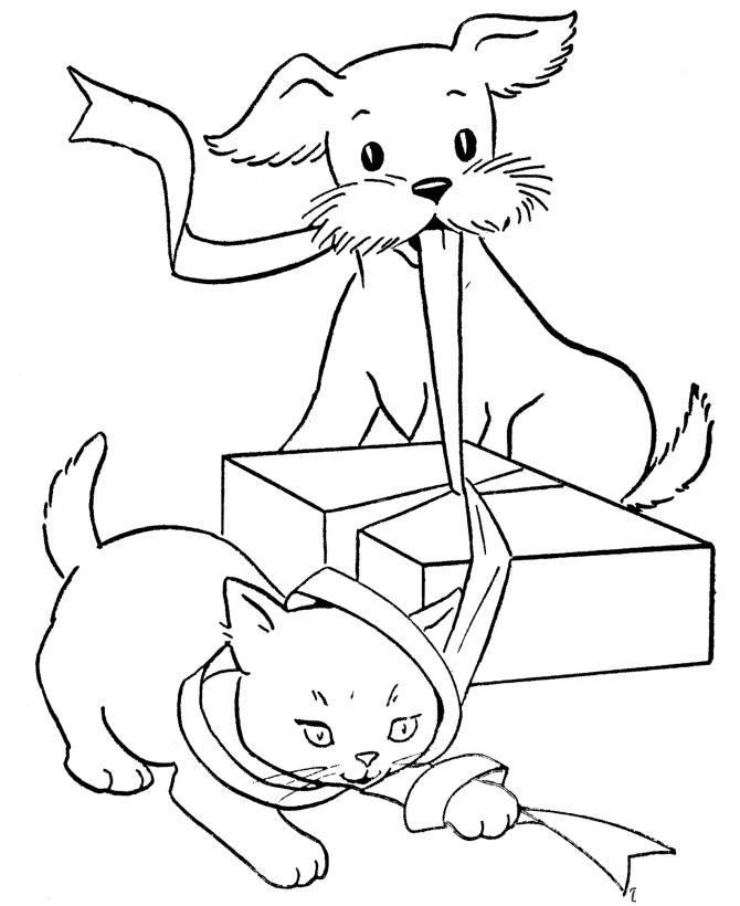 Пес, кот и подарок Детские раскраски зима распечатать