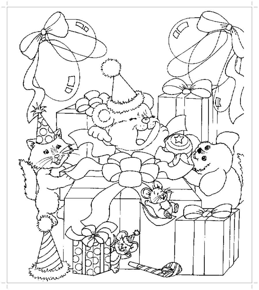 Подарки к новому году Детские раскраски зима распечатать