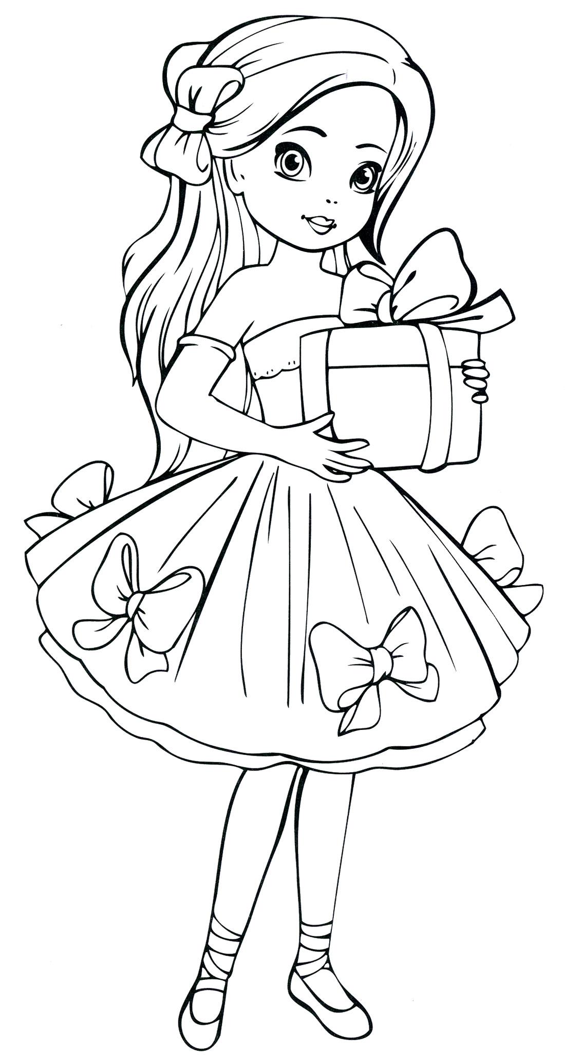 Девочка в красивом платеье с подарком Раскраски про зиму для детей