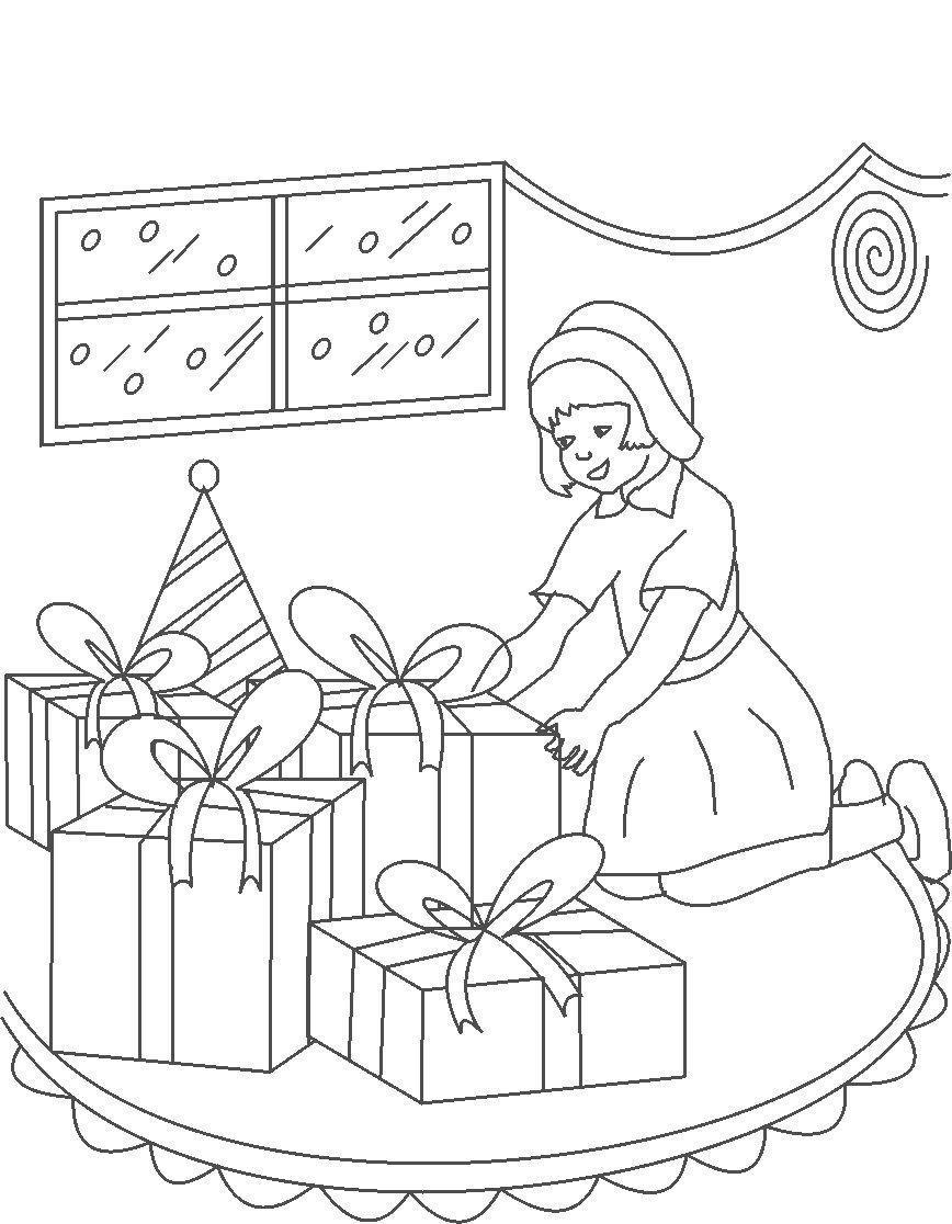 Подарки к новому году Раскраска сказочная зима