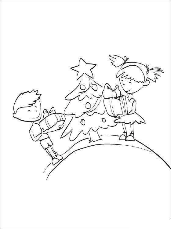 Дети с подарками возле елки Раскраска сказочная зима