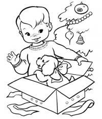 Подарок щенок Раскраска сказочная зима