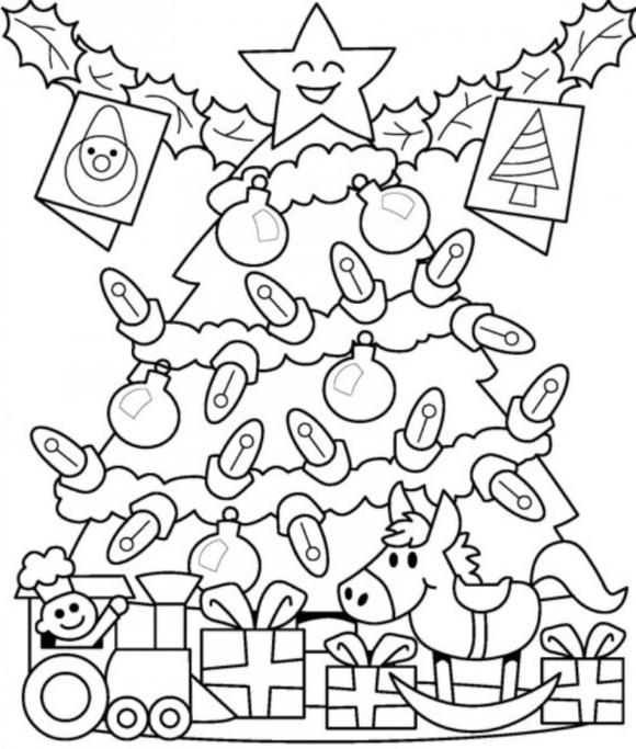 Большая елка с подарками Раскраска сказочная зима