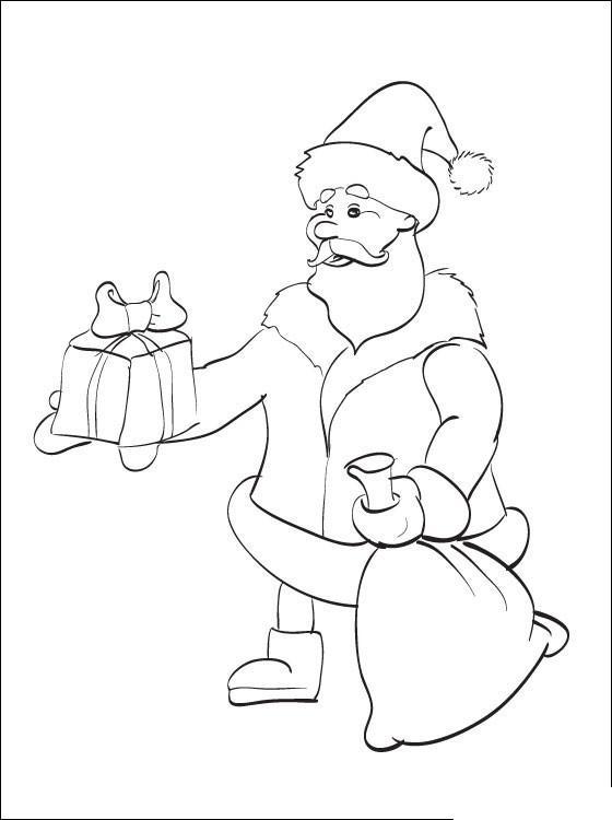 Дед мороз дарит подарки Раскраска сказочная зима