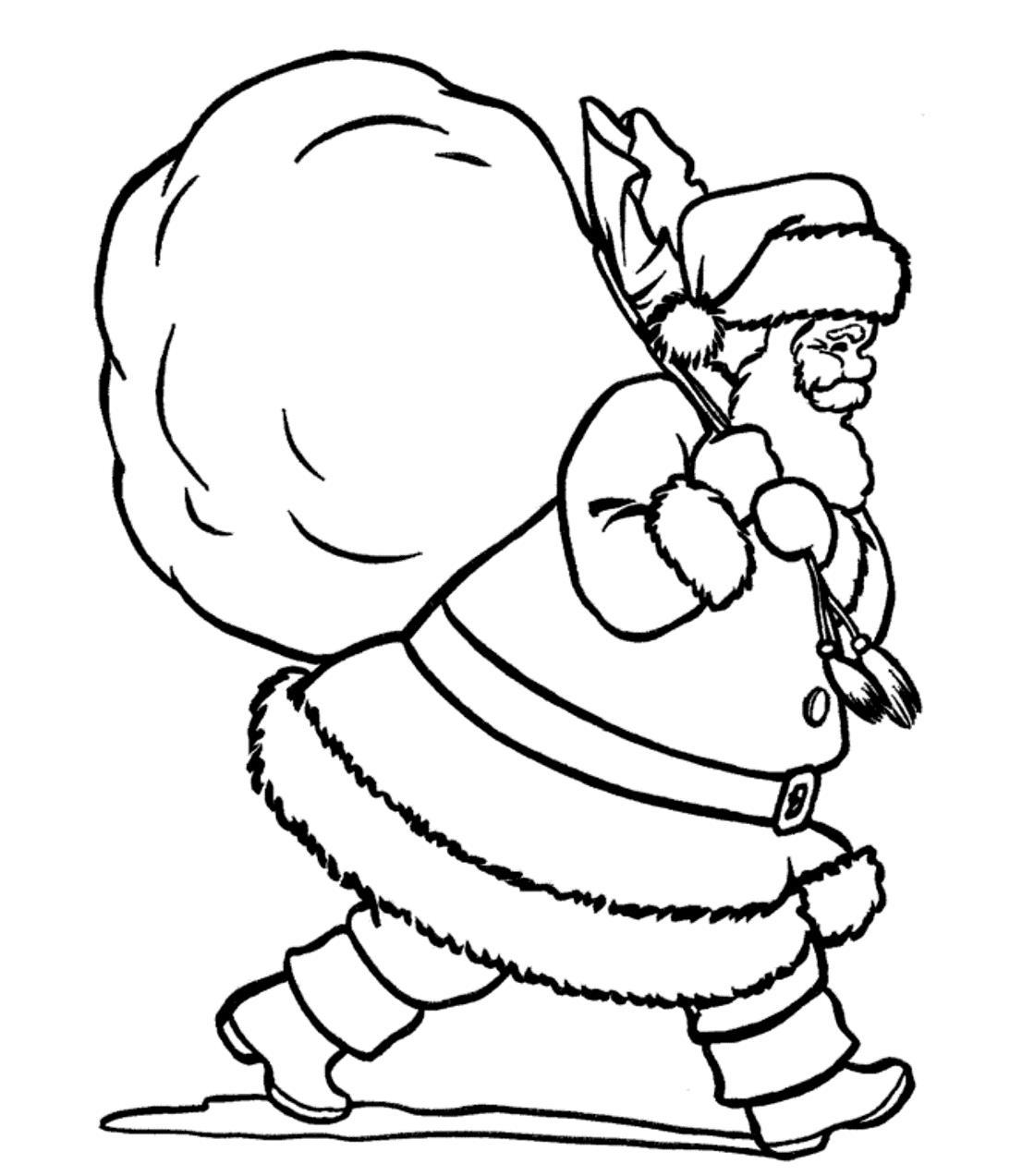 Дед мороз и огромный мешок с подарками Раскраска сказочная зима