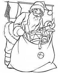Огромный мешок с подарками Раскраска сказочная зима