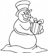Снеговик с подарком Раскраска сказочная зима
