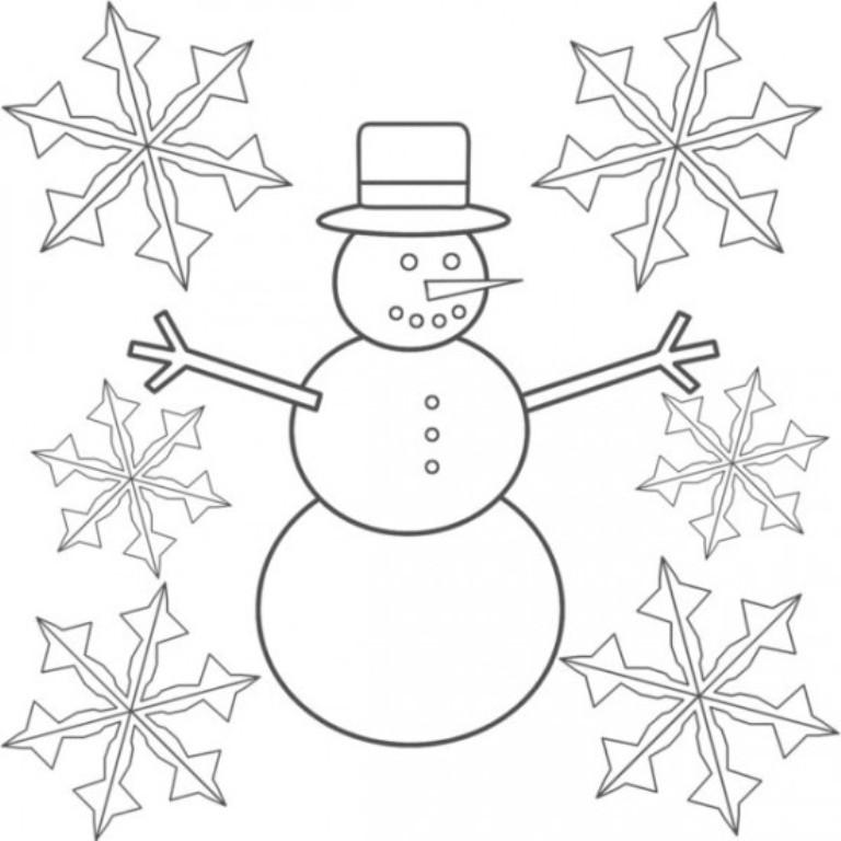 Снежинки и снеговик Раскраски зима скачать бесплатно