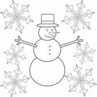 Снежинки и снеговик Рисунок раскраска на зимнюю тему