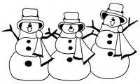 Танцующие снеговики Рисунок раскраска на зимнюю тему