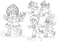 На катке со снегурочкой Зимние раскраски для мальчиков