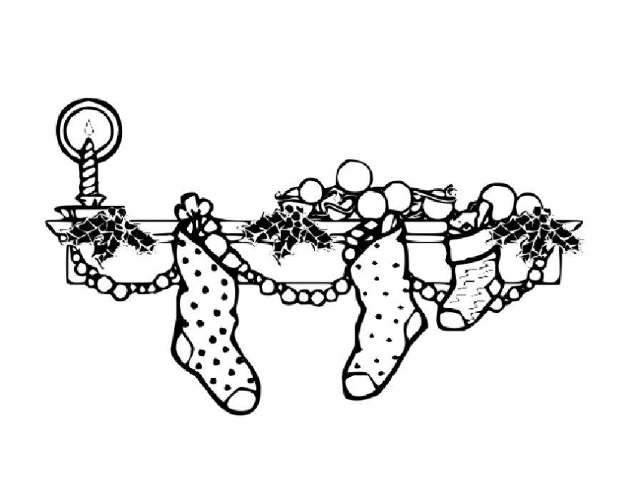Носочки для подарков Раскраска сказочная зима