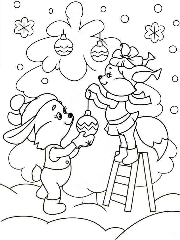 Бельчонок и зайчонок наряжают елку Раскраска сказочная зима