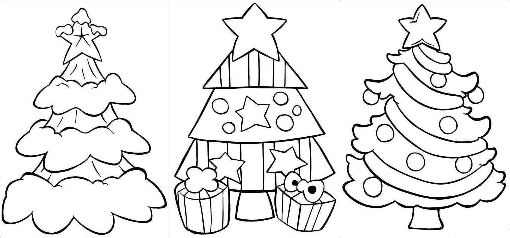 Новогодние елочки Раскраска зима распечатать