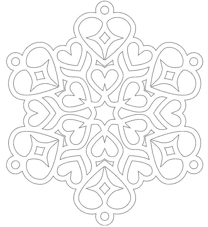 Снежинки узором в сердечки Раскраски для детского сада