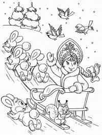 Снегурочка в санях с зайцами Детские раскраски зима распечатать