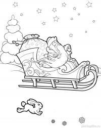 Дед мороз со снегурочкой в санях Раскраска зима распечатать
