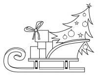 Елка с подарками в санях Раскраска зима распечатать