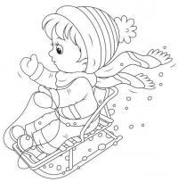 Ребенок на санках Раскраска зима распечатать