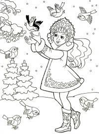 Снегурочка в окружении птиц Раскраски зима скачать бесплатно