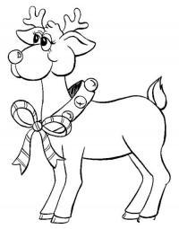 Пухленький олень с бубенцами Детские раскраски зима распечатать