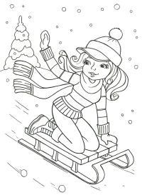 Девочка на санках Раскраска зима распечатать