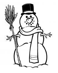 Снеговик с метлой Рисунок раскраска на зимнюю тему