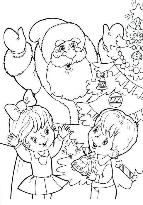 Дед мороз с детьми Раскраска зима пришла