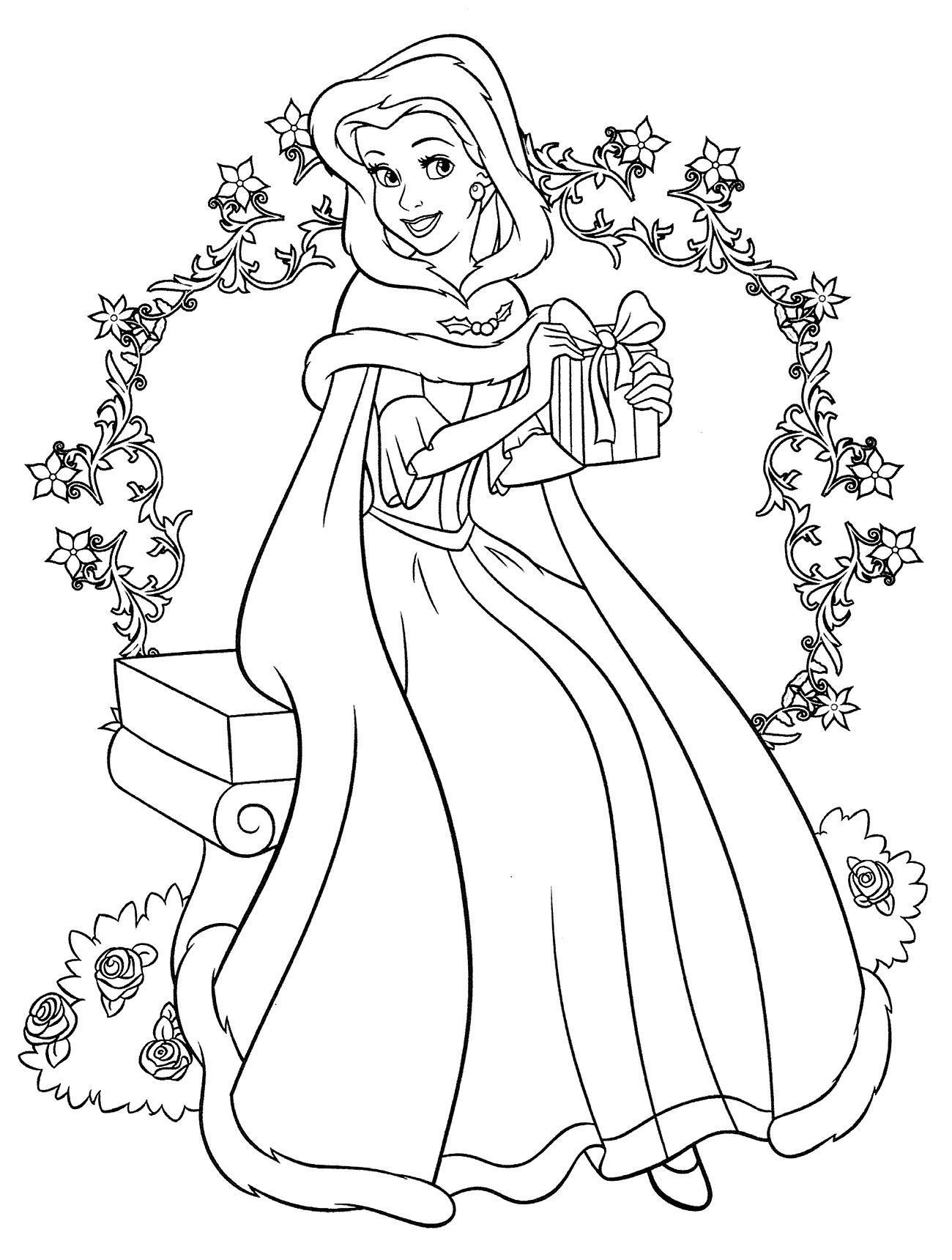 Девушка с подарком Раскраска зима распечатать