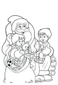 Дед мороз с детьми, дарит подарки Зимние рисунки раскраски