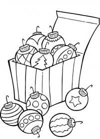 Елочные шары в коробочке Зимние раскраски для мальчиков