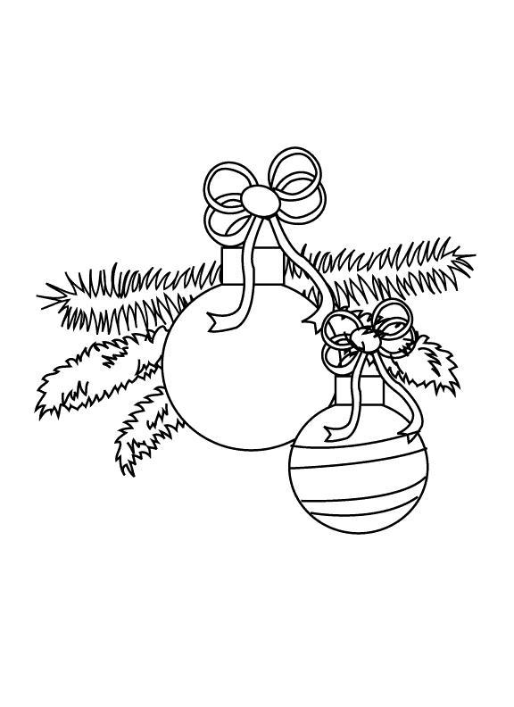 Елочные шары с ленточками на ветке Зимние раскраски для мальчиков