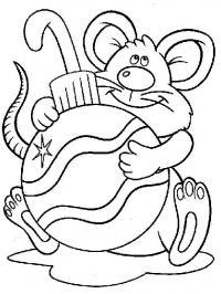 Елочный шар с мышонком Детские раскраски зима распечатать