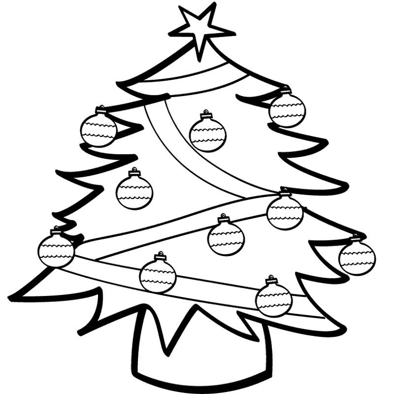 Елочные шары на елке Зимние раскраски для малышей