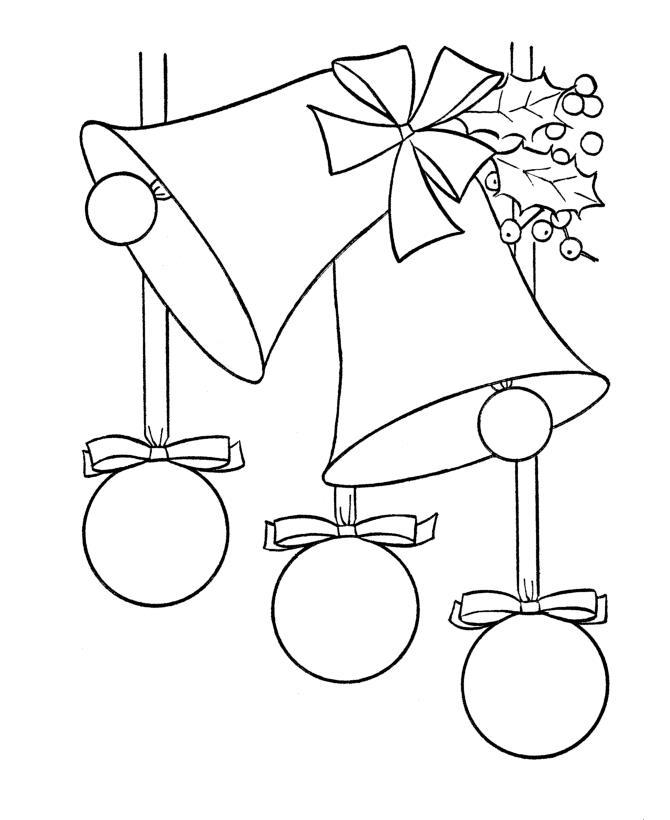 Елочные шары с колокольчиками Зимние рисунки раскраски
