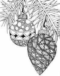 Елочные шары на ветке Зимние раскраски для мальчиков
