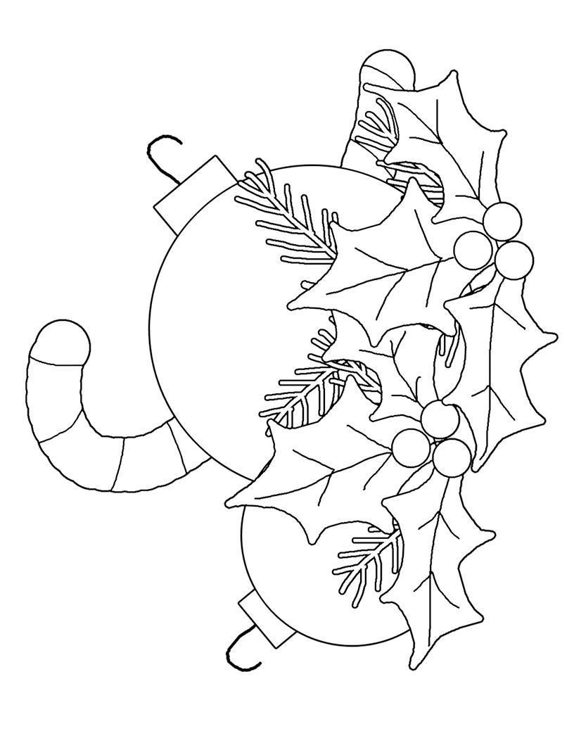 Шары со сладостями на веточке Раскраски на тему зима