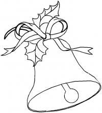 Колокольчик контур для открытки Зимние раскраски для малышей