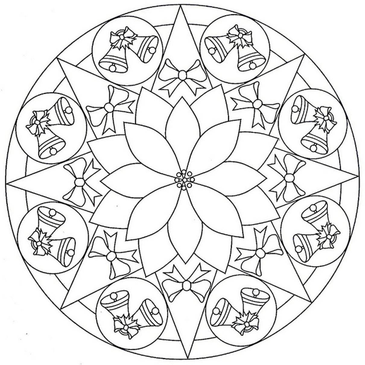 Колокольчики с бантиками в рисунке на шаре Зимние раскраски для мальчиков