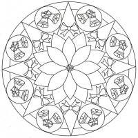 Колокольчики с бантиками в рисунке на шаре Детские раскраски зима распечатать