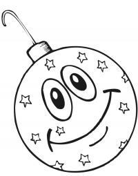 Елочные украшения, шар со звездами и улыбочкой Детские раскраски зима распечатать
