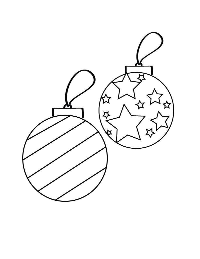 Елочные украшения, шары со звездами и в полоску Детские раскраски зима распечатать